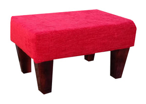 Red Faux Suede Fabric Footstool with Mahogany Contemporary Legs