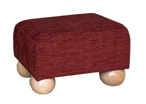 Wine Chenille Fabric Footstool with Natural Bun Feet