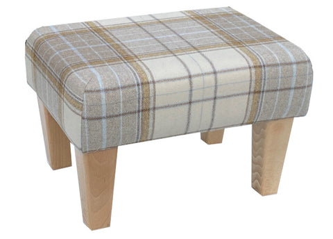Natural Tartan Fabric Footstool with Natural Contemporary Legs