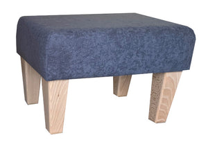 Slate Grey Faux Suede Fabric Footstool with Natural Contemporary Legs