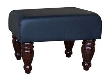 Navy Blue Faux Leather Footstool with Mahogany Turned Legs