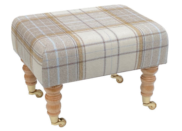 Natural Tartan Fabric Footstool with Natural Caster Legs