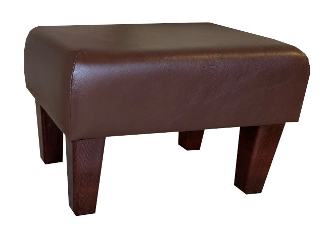Aged Oak Leather Footstool with Mahogany Contemporary Legs