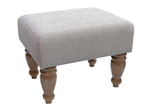 Wheat Ravello Fabric Footstool with Natural Turned Legs