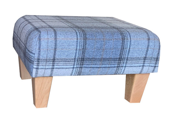 Grey Tartan Fabric Footstool with Natural Contemporary Legs