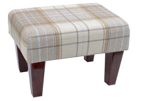 Natural Tartan Fabric Footstool with Mahogany Contemporary Legs