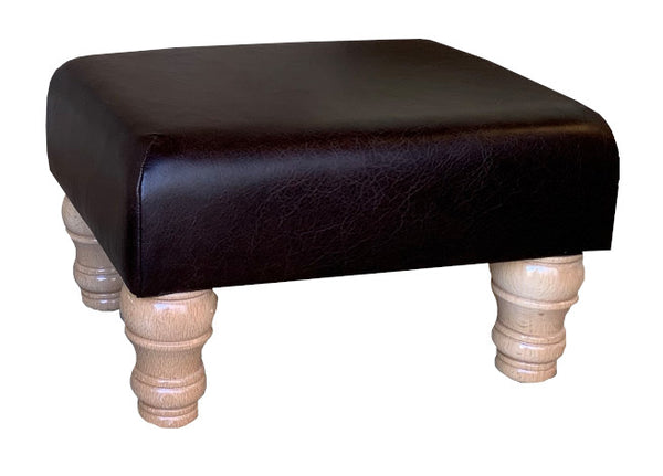 Aged Dark Brown Leather Footstool with Natural Turned Legs