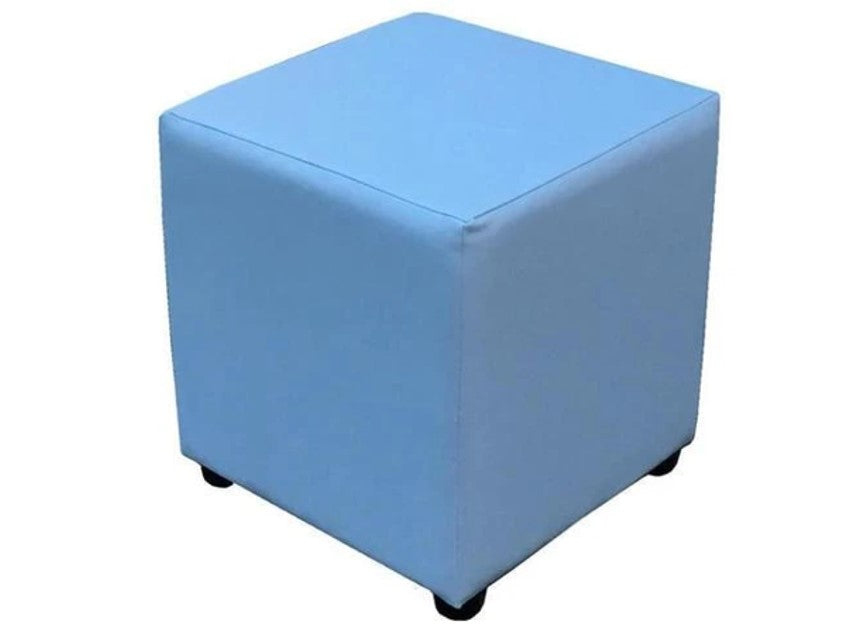 Cube Seating in Luxury Baby Blue Faux Leather - Footstools Direct