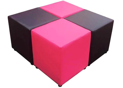 Cube Seating Pink and Black Collection - Footstools Direct