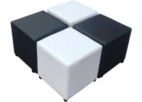 Cube Seating Black and White Collection - Footstools Direct