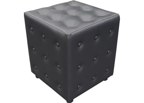 Cube Seating in Black Buttoned Faux Leather - Footstools Direct