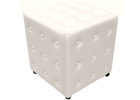 Cube Seating in White Buttoned Faux Leather - Footstools Direct