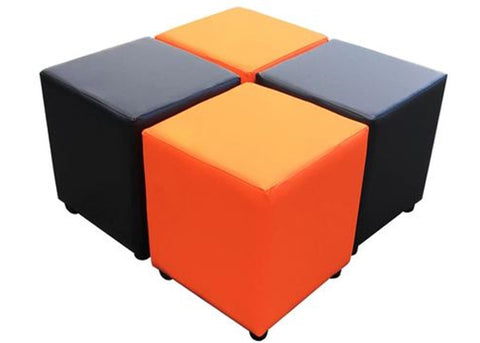 Cube Seating Orange and Black Collection - Footstools Direct