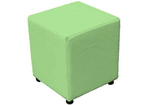 Cube Seating in Luxury Apple Green Faux Leather - Footstools Direct