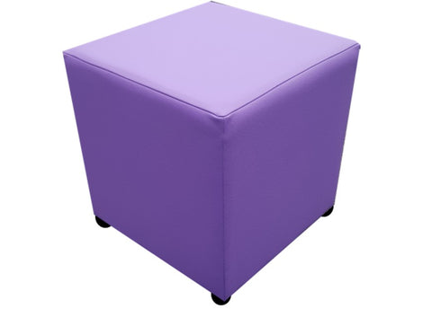 Cube Seating in Luxury Blackcurrant Purple Faux Leather - Footstools Direct