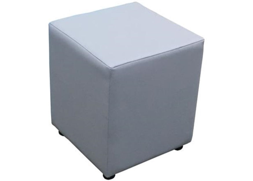 Cube Seating in Luxury Cadet Grey Faux Leather - Footstools Direct
