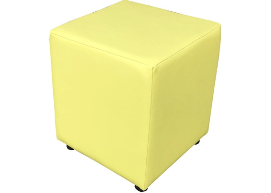 Cube Seating in Luxury Citrus Yellow Faux Leather - Footstools Direct