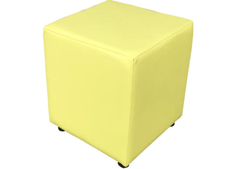 Cube Seating in Citrus Faux Leather - Footstools Direct