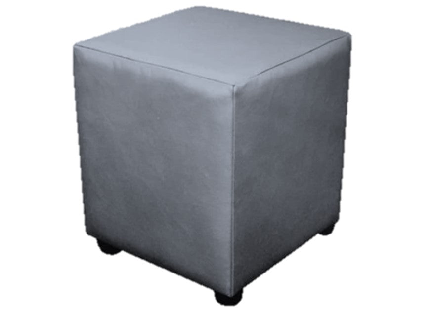 Cube Seating in Luxury Flake Grey Faux Leather - Footstools Direct