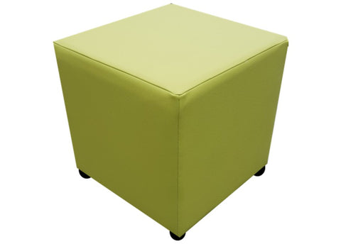 Cube Seating in Luxury Lime Green Faux Leather - Footstools Direct
