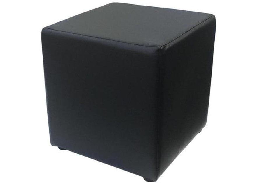 Cube Seating in Luxury Black Faux Leather - Footstools Direct