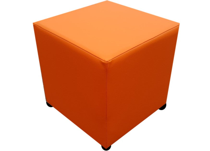 Cube Seating in Luxury Mango Orange Faux Leather - Footstools Direct