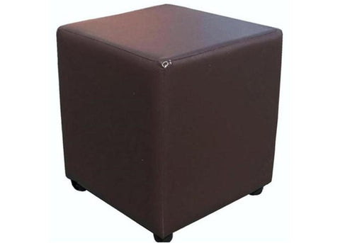 Cube Seating in Luxury Mocha Brown Faux Leather - Footstools Direct
