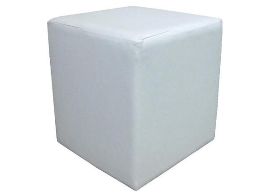 Cube Seating in Luxury White Leather - Footstools Direct