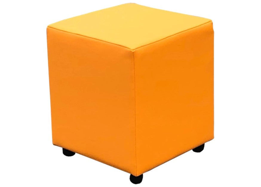 Cube Seating in Luxury Marigold Faux Leather - Footstools Direct