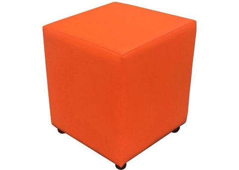 Cube Seating in Luxury Nasturtium Faux Leather - Footstools Direct