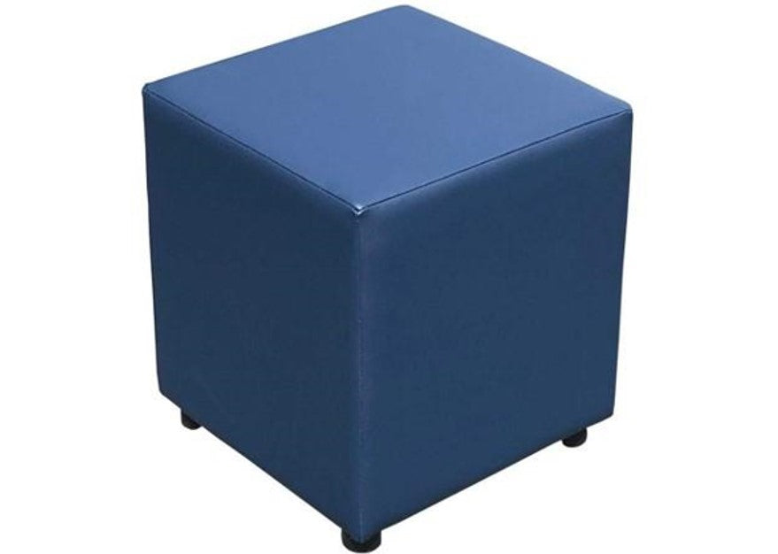 Cube Seating in Luxury Cornflower Blue Faux Leather - Footstools Direct