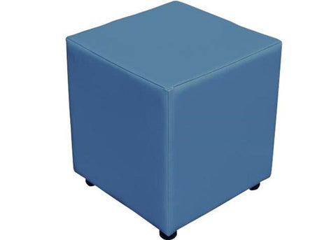 Cube Seating in Neptune Blue Faux Leather - Footstools Direct