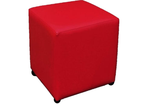 Cube Seating in Luxury Poppy Red Faux Leather
