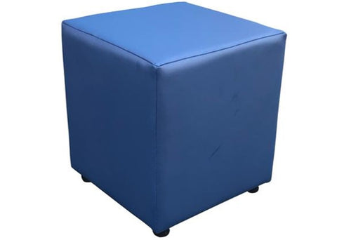 Cube Seating in Luxury Bluebell Faux Leather - Footstools Direct