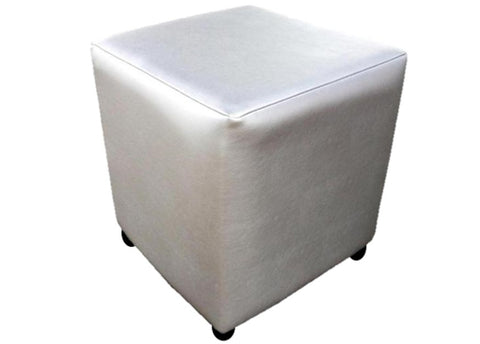 Cube Seating in Luxury Silver Faux Leather - Footstools Direct