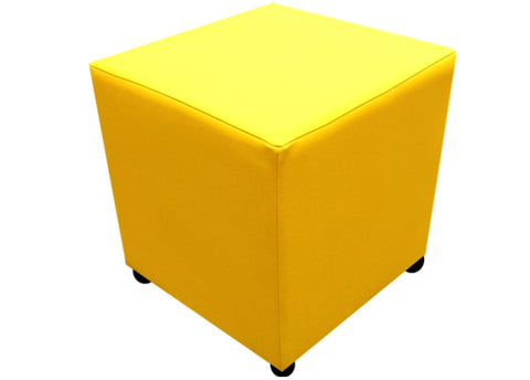 Cube Seating in Luxury Sunflower Yellow Faux Leather