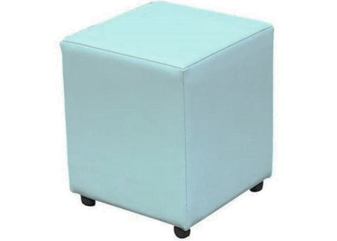 Cube Seating in Luxury Light Teal Faux Leather - Footstools Direct