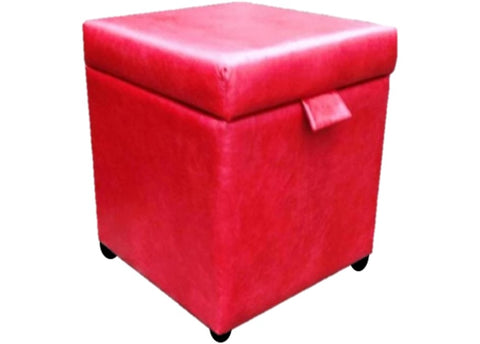 Cube Storage Ottoman in Aged Claret Red Leather - Footstools Direct