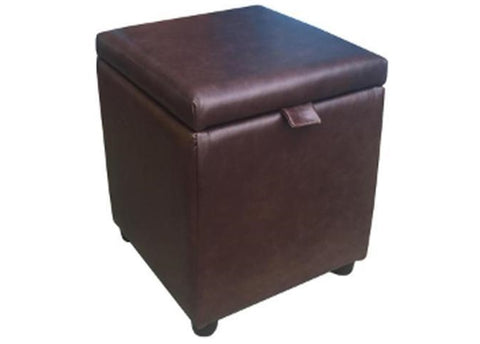 Cube Storage Ottoman in Aged Dark Brown Leather - Footstools Direct
