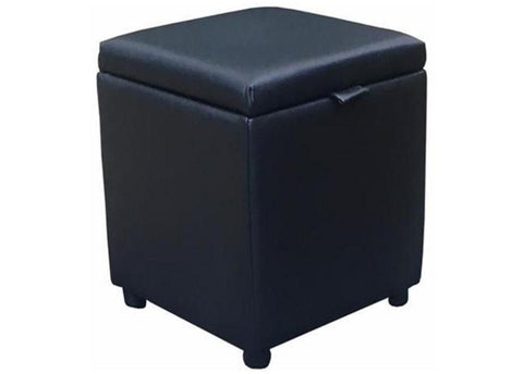 Cube Storage Ottoman in Black Leather - Footstools Direct