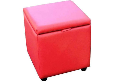 Cube Storage Ottoman in Luxury Candy Apple Faux Leather - Footstools Direct