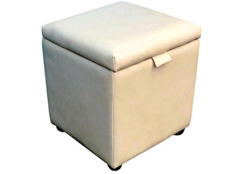 Cube Storage Ottoman in Cream Faux Leather - Footstools Direct