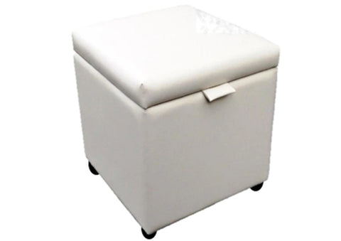 Cube Storage Ottoman in Ivory Leather - Footstools Direct