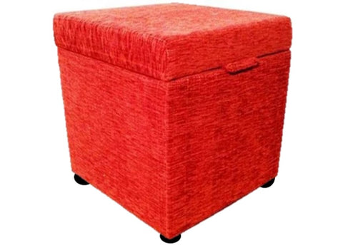 Cube Storage Ottoman in Terracotta Chenille Fabric - Footstools Direct