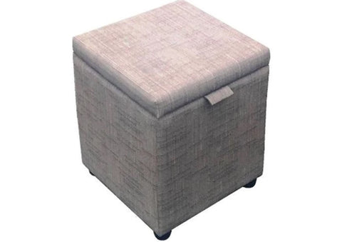 Cube Storage Ottoman in Harrow Slub Grey - Footstools Direct