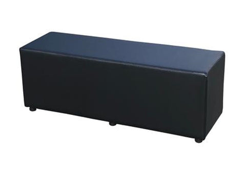 Cube Triple Seating in Luxury Black Faux Leather - Footstools Direct