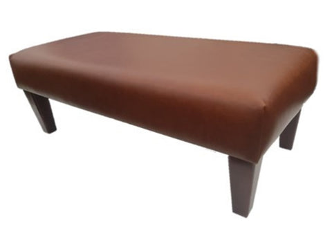 Luxury Upholstered Long Footstool in Aged Rust Leather with Dark Contemporary Legs - Footstools Direct