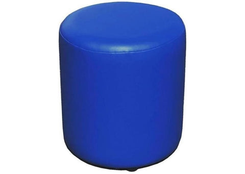 Drum Stool Seating in Luxury Bluebell Faux Leather - Footstools Direct