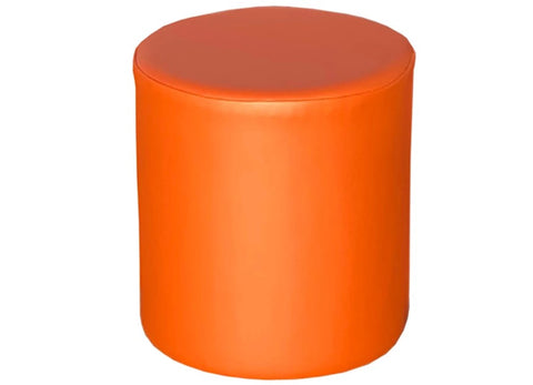 Drum Stool Seating in Luxury Mango Orange Faux Leather - Footstools Direct