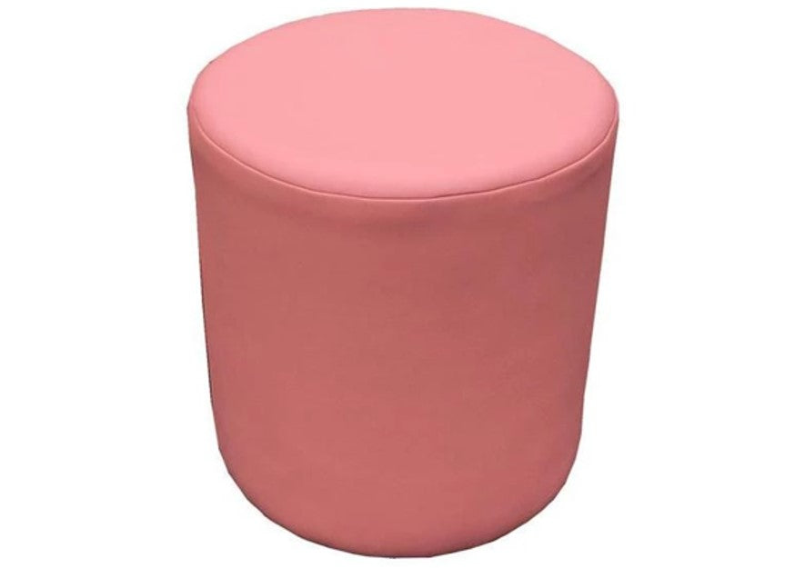 Drum Stool Seating in Luxury Ice Pink Faux Leather - Footstools Direct